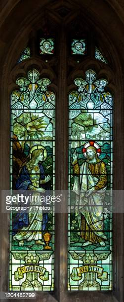 Stained glass window Noli me Tangere Seend church, Wiltshire, England, UK 1908 James Powell and Sons.