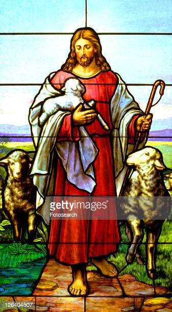 stained glass window of jesus the good shepherd carrying a lamb - jesus the good shepherd stock pictures, royalty-free photos & images