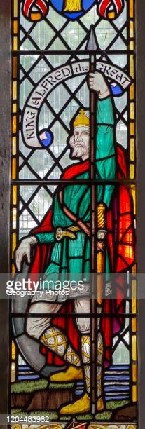 Stained glass window of King Alfred the Great, Pewsey church, Wiltshire, England, UK c 1924 G.E.R. Smith.