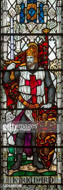 Stained glass window of King Richard Saint Thomas church, Salisbury, Wiltshire, England by James Powell and Sons.