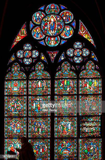 Stained glass window of Notre Dame Cathedral