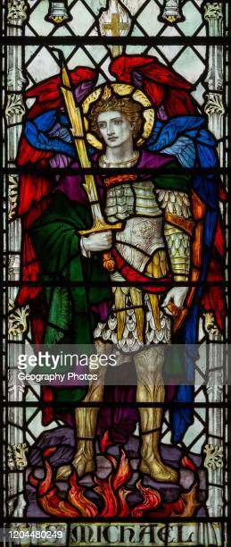 Stained glass window of Saint Michael, Saint Thomas church, Salisbury, Wiltshire, England James Powell and Sons.