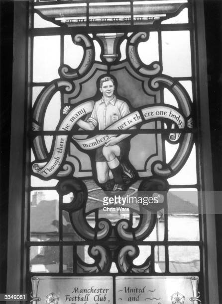 Stained glass window of St Francis' Church in Dudley, Worcestershire, commemorates the career of Manchester United footballer Duncan Edwards, who was...