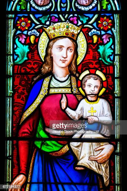 Stained glass window of Virgin Mary and baby Jesus