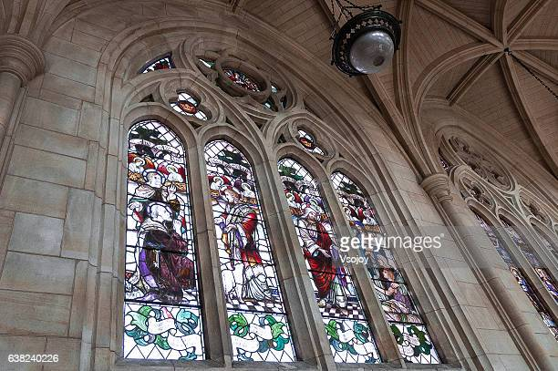 stained glass window, st paul's anglican cathedral, dunedin, new zealand - vsojoy stock pictures, royalty-free photos & images