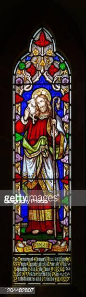 Stained glass window the Good Shepherd church of Saint Mary Hemington Somerset England UK