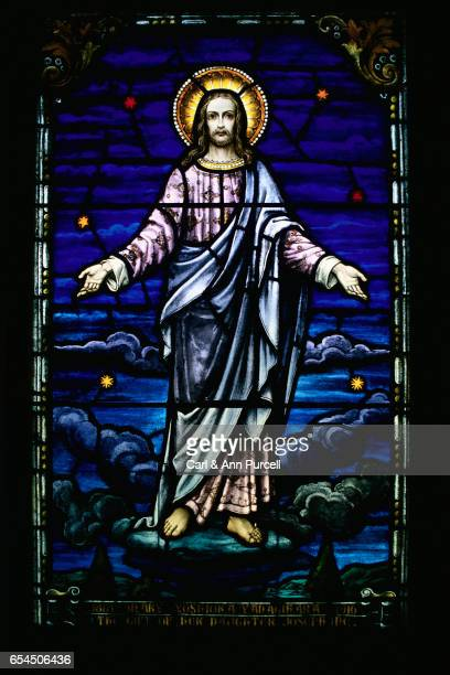 Stained Glass Window with Jesus Christ