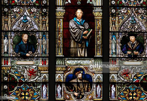 stained glass window with martin luther - protestantism stock pictures, royalty-free photos & images