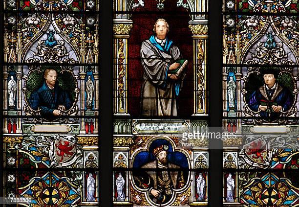 Buntglasfenster mit Martin Luther
