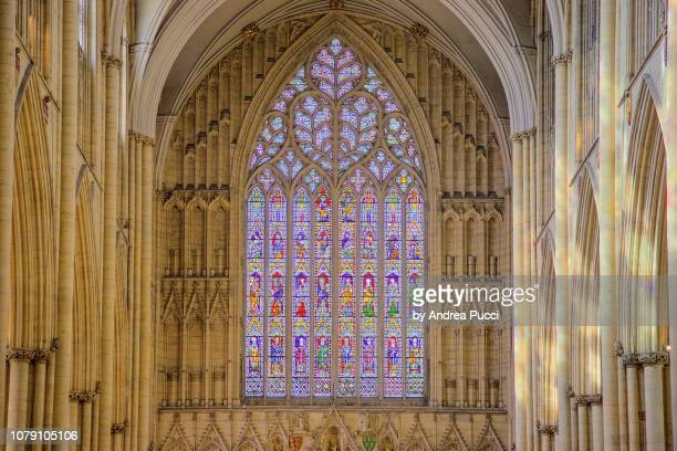 stained glass window, york minster, york, yorkshire, united kingdom - york minster stock photos and pictures