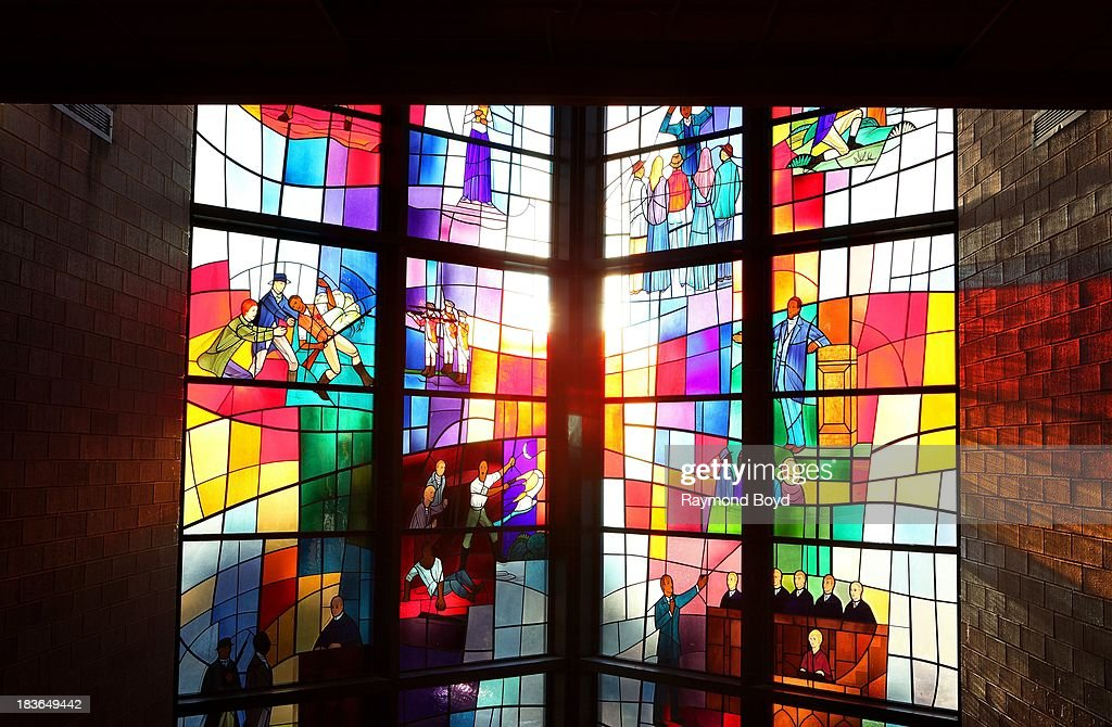 Stained glass windows, at Trinity United Church of Christ, in Chicago, Illinois on SEPTEMBER