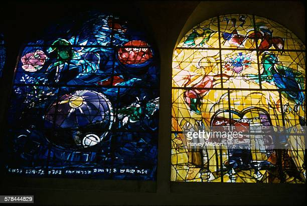 Stained glass windows by artist Marc Chagall at the Abbell Synagogue at the Hadassah University Medical Center in Ein Kerem, Jerusalem, circa 1975.