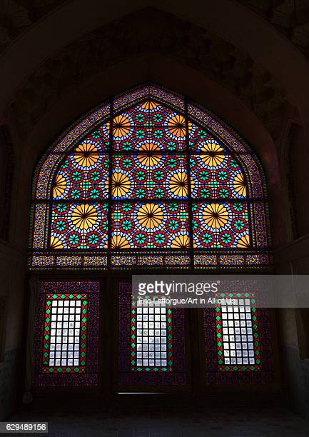 Stained glass windows in Arge Karim Khan Citadel Fars Province Shiraz Iran on October 16 2016 in Shiraz Iran