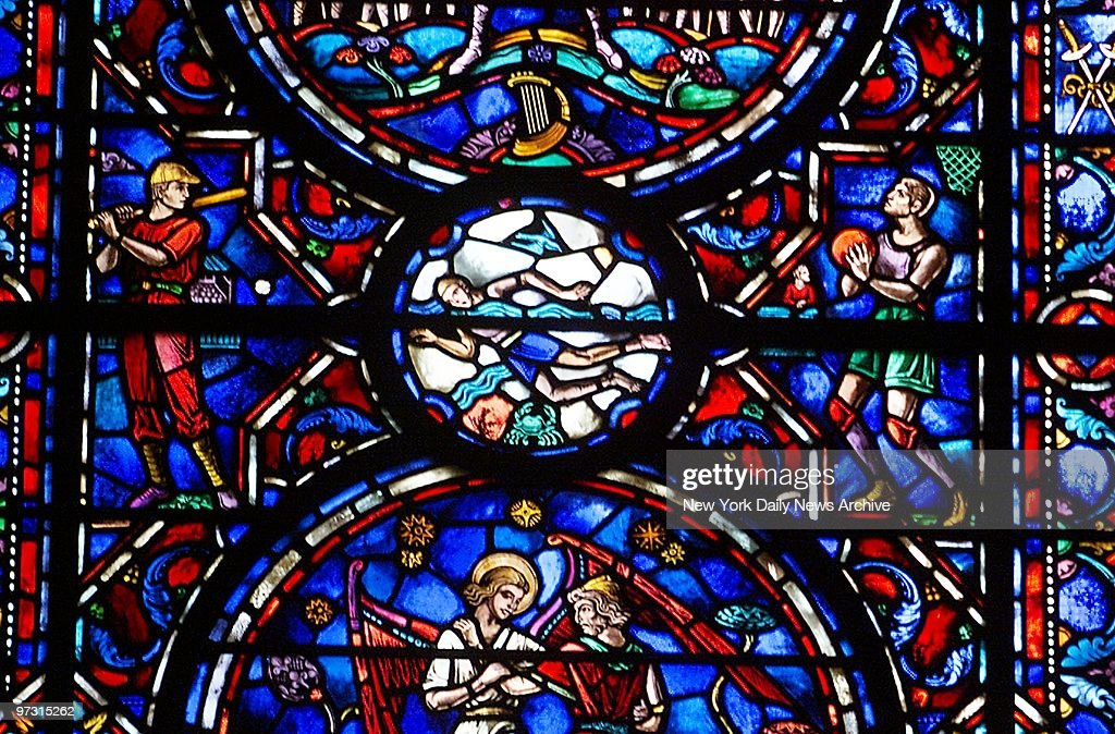 Stained glass windows in the Sports Bay at the Cathedral of  : News Photo