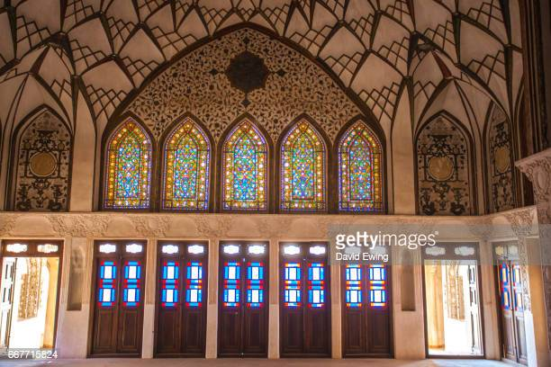 stained glass windows of tabatabaei historical house in kashan, isfahan province, iran - david ewing stock pictures, royalty-free photos & images