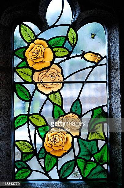 stained glass,st.brelade,jersey. - stained glass stock photos and pictures
