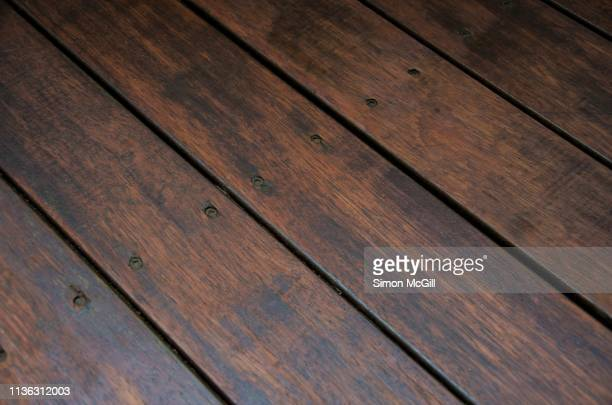 stained timber decking - garden decking stock pictures, royalty-free photos & images