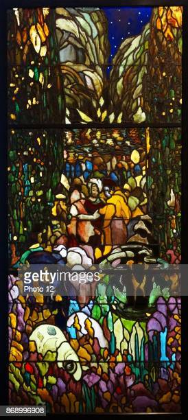 Stainedglass triptych titled 'The Blue Pool' by Joaquin Mir Trinxet Catalan Spanish artist Dated 1911
