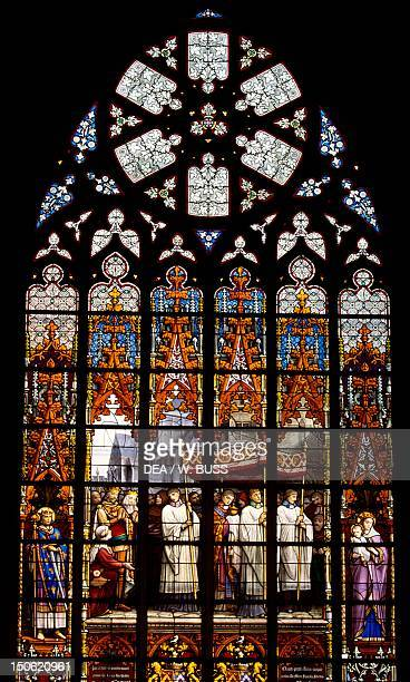 Stainedglass window from the Brabantine Gothic style St Michael and St Gudula Cathedral Brussels Belgium