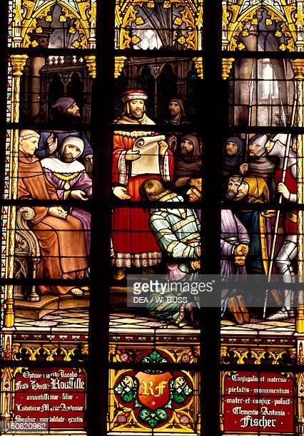 Stainedglass window from the Brabantine Gothic style St Michael and St Gudula Cathedral Brussels Detail Belgium