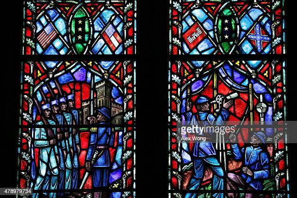 A stainedglass window honoring Robert E Lee commander of the Confederate Army of Northern Virginia in the American Civil War installed at the...