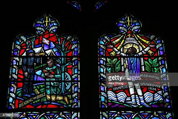 A stainedglass window honoring Thomas Jonathan 'Stonewall' Jackson a Confederate general during the American Civil War installed at the Washington...