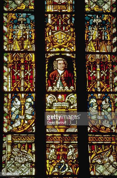 A stainedglass window in Saint Thomas Church depicts Johann Sebastian Bach where he worked as a choirmaster Leipzig Germany | Location Saint Thomas...