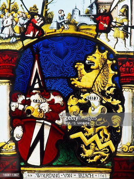 Stainedglass window in the Main Hall of Thun Castle canton of Bern Detail Switzerland