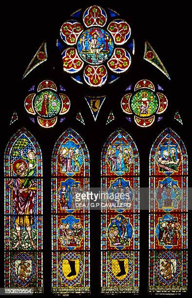Stainedglass window of Freiburg Cathedral BadenWuerttemberg Germany13th16th century