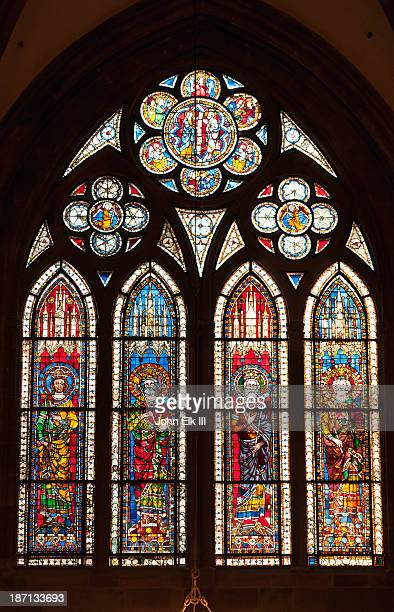stained-glass window - strasbourg stock pictures, royalty-free photos & images
