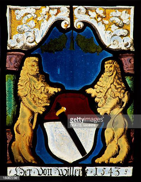 Stainedglass windows Gruyeres Castle canton of Fribourg Detail Switzerland