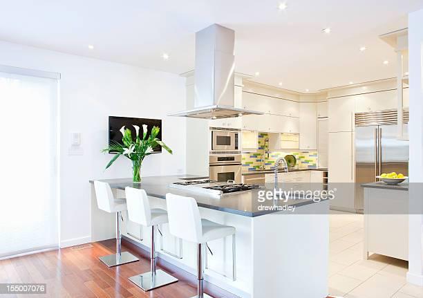 Acero inoxidable y moderna cocina blanco
