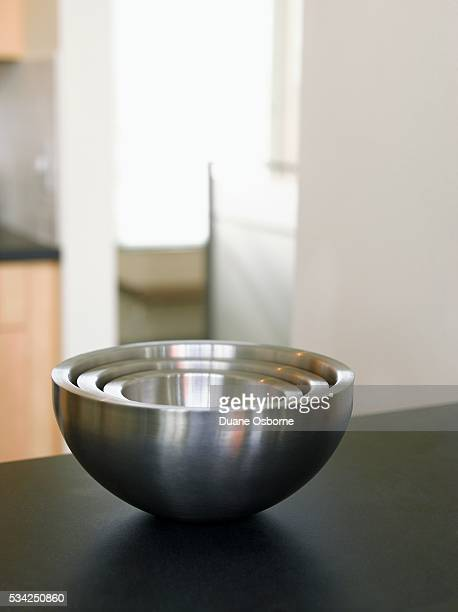 Stainless Steel Bowls on Counter
