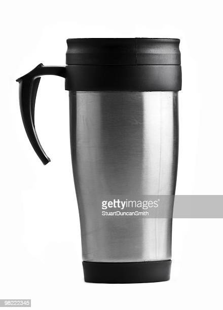 Stainless steel coffee mug on white background