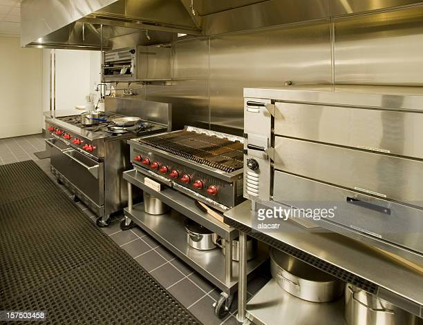 stainless steel commercial kitchen cooking appliances - pizza oven stock photos and pictures