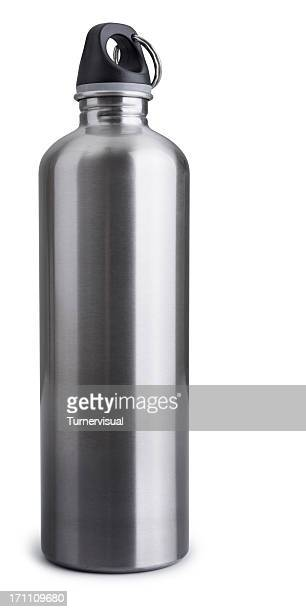 stainless steel drink bottle isolated + clipping path - flask stock pictures, royalty-free photos & images