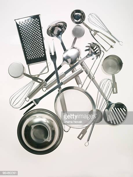 stainless steel kitchen tools - cooking utensil stock photos and pictures