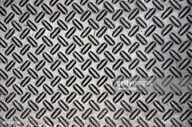 Stainless steel metal plate with crosshatch non-slip texture
