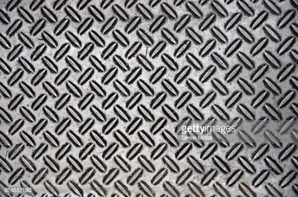 stainless steel metal plate with crosshatch non-slip texture - australian capital territory stockfoto's en -beelden