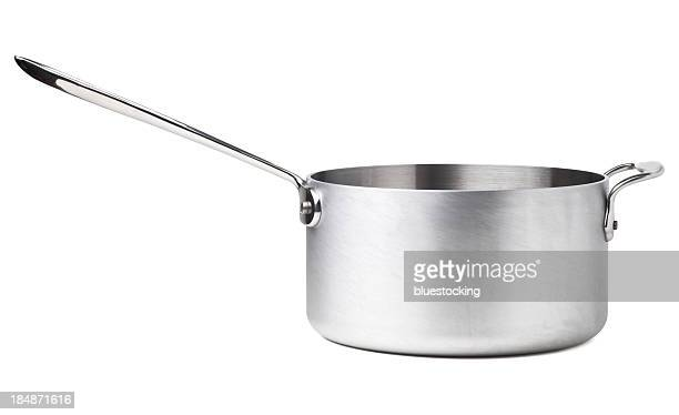 stainless steel saucepan - cooking pan stock pictures, royalty-free photos & images