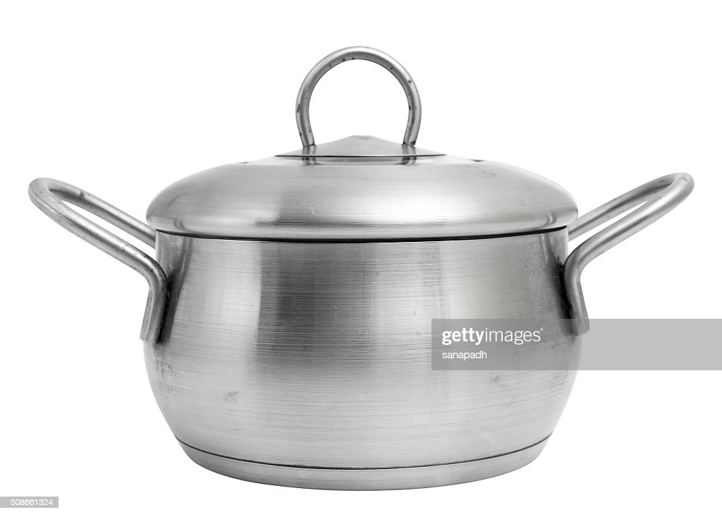 Stainless steel saucepot with lid. Sauce pot. : Stock Photo