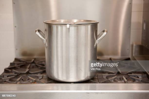 Stainless steel soup pot on range top in Denton Maryland USA