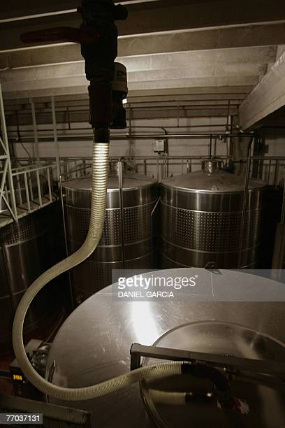 Stainless steel tanks for the fermentation and stabilization process at Familia Zuccardi winery 04 July 2005.The administrative offices and the main...