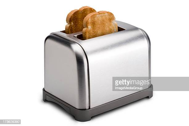 stainless toaster with toast - toasting stock pictures, royalty-free photos & images