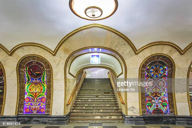 stair to novoslobodskaya metro station, moscow, russia - moscow metro stock pictures, royalty-free photos & images
