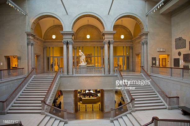 staircase and atrium in landmark museum. - art institute of chicago stock pictures, royalty-free photos & images