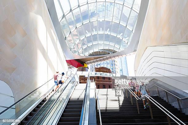 Staircase and escalator to the new underground subway Sydney Australia