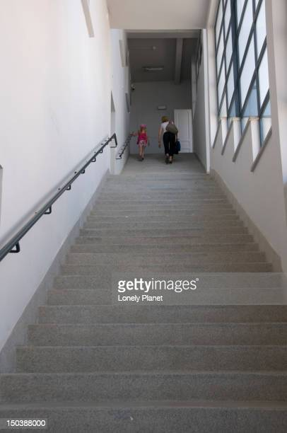 staircase featuring in schindler's list film, in the former oscar schindler's enamelware factory, ul lipowa 4, podgorze. - oskar schindler stock pictures, royalty-free photos & images