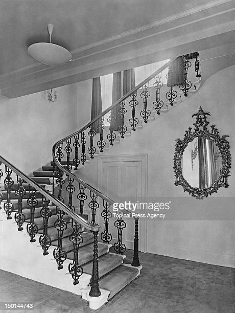 A staircase in Clarence House the home of Princess Elizabeth and her husband the Duke of Edinburgh in London 1949 This wing was added in 1875 during...
