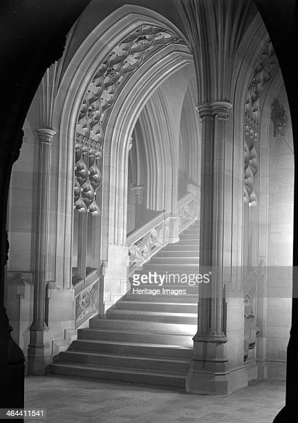 A staircase in the John Rylands Library Deansgate University of Manchester 1942 It is an arched carved stone staircase decorated with quatrefoils on...